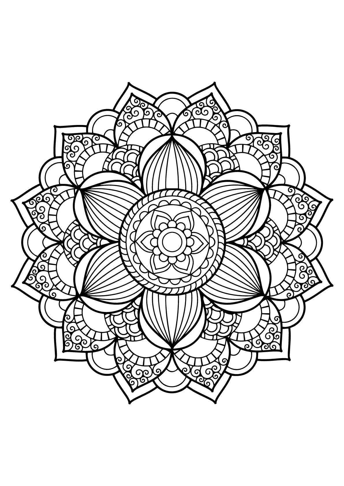 Mandala from free book for 17 | Mandalas - Coloring pages for ...