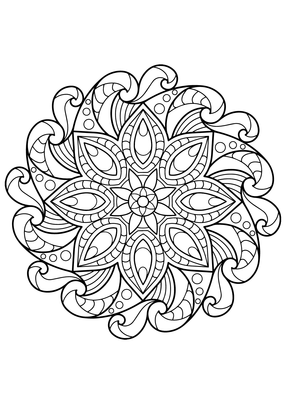 Beautiful Mandala from Free Coloring book for adults