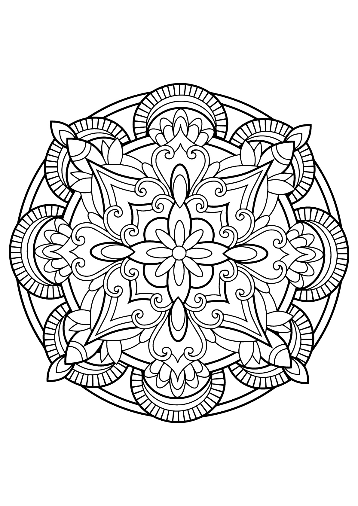Mandala from free coloring books for adults 23 m alas for Printable mandala coloring pages for adults
