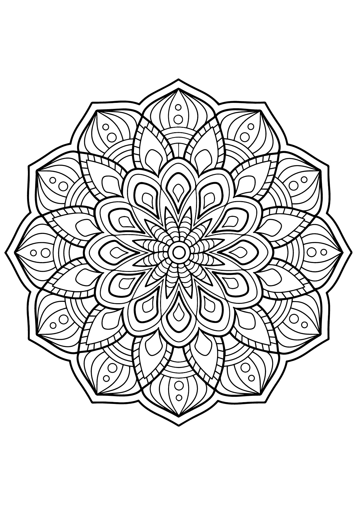 Mandala full of beautiful details from Free Coloring book for adults