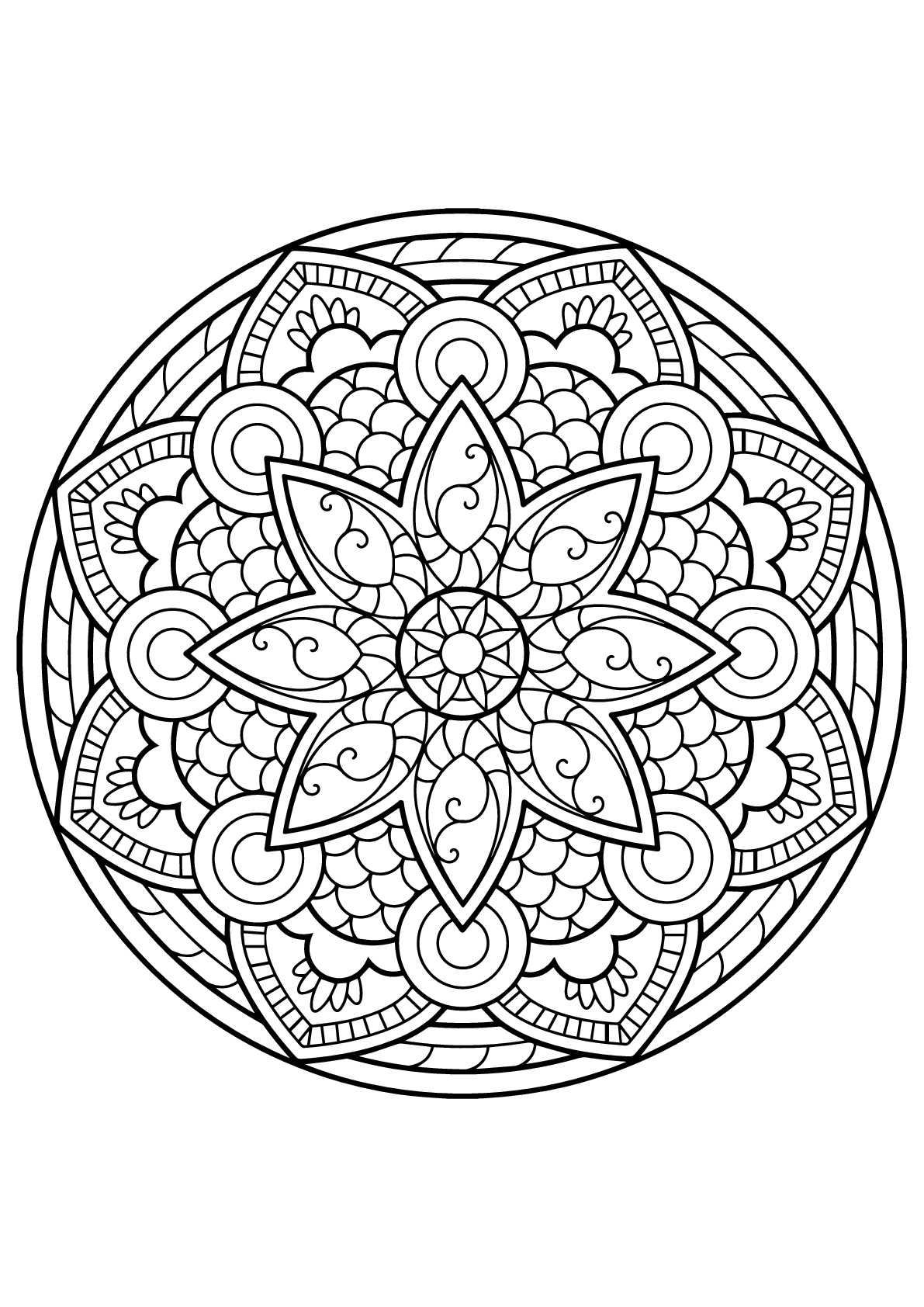 Original Mandala from Free Coloring book for adults