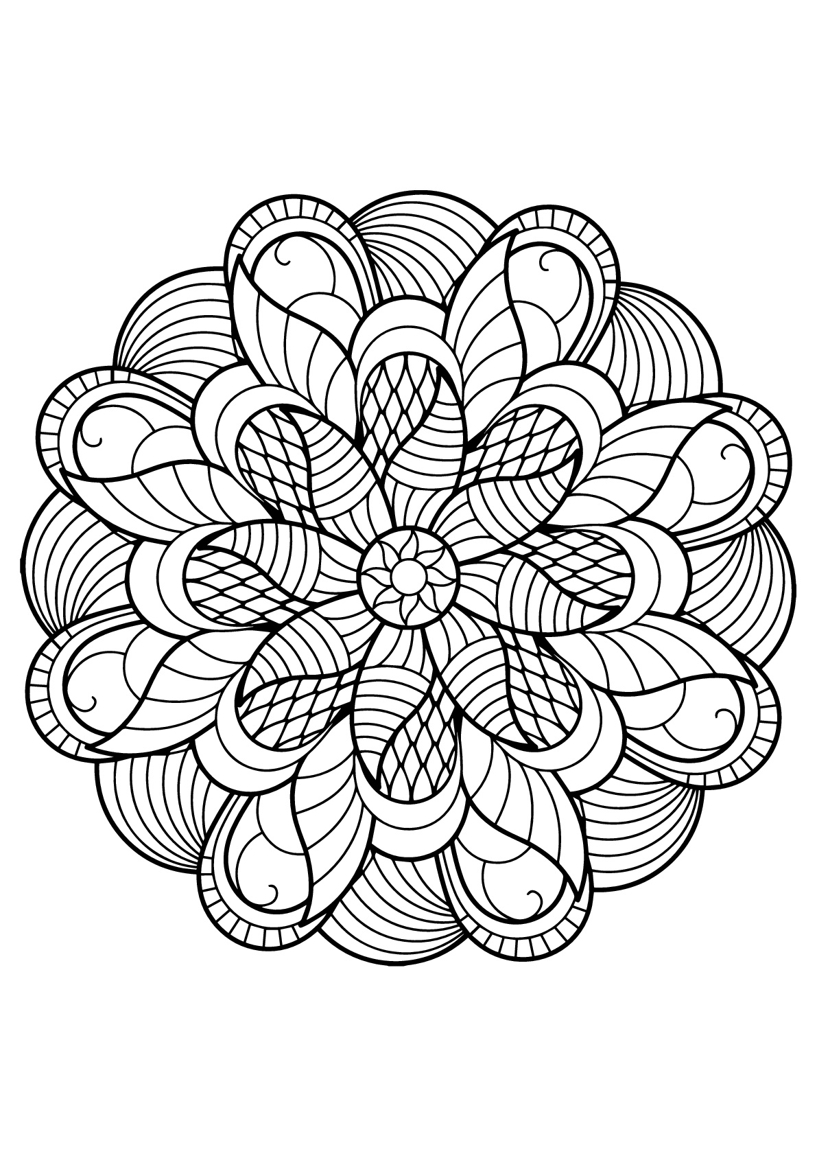 Very original Mandala from Free Coloring book for adults