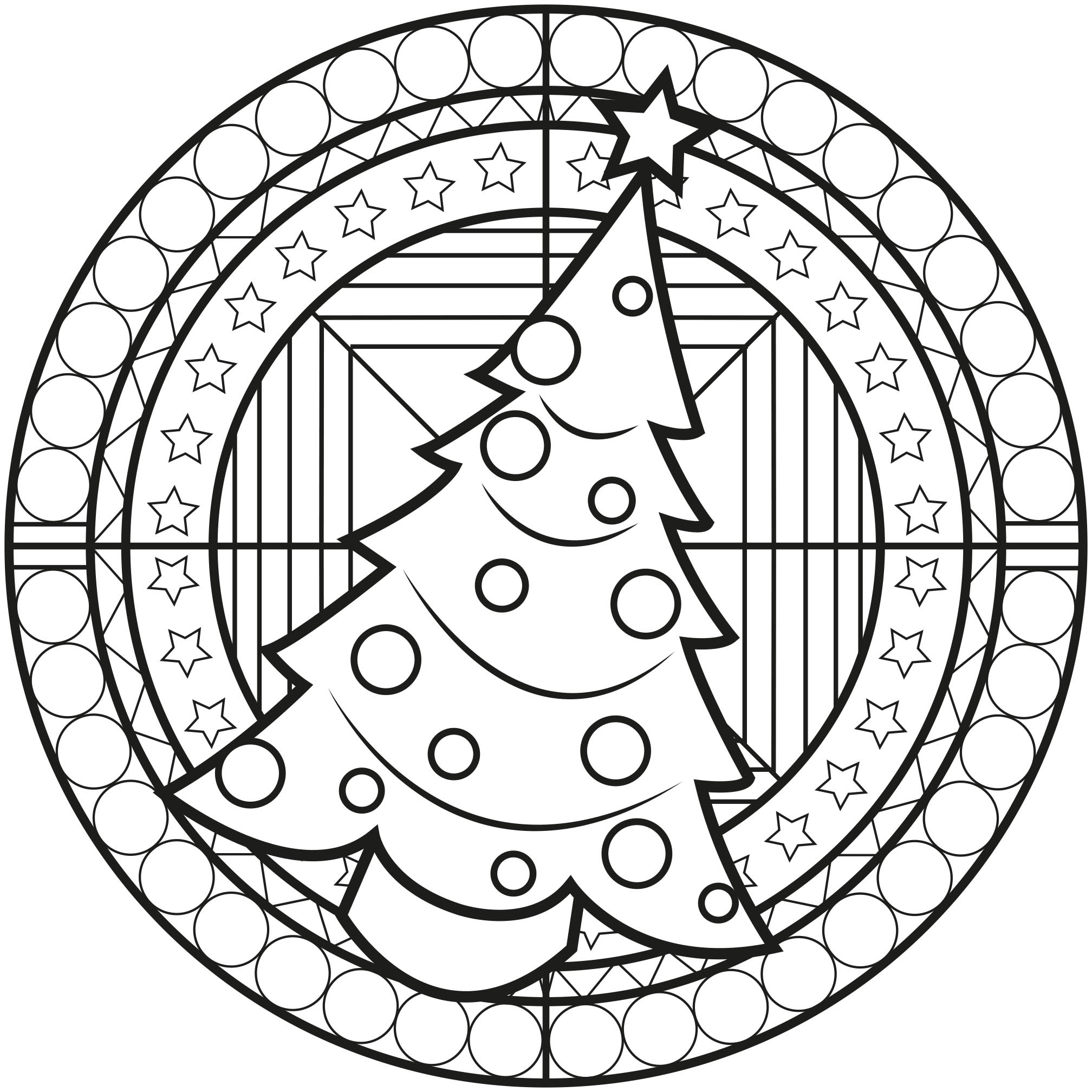 Chrstmas mandala with a christmas tree m alas adult - Coloriage mandala noel ...