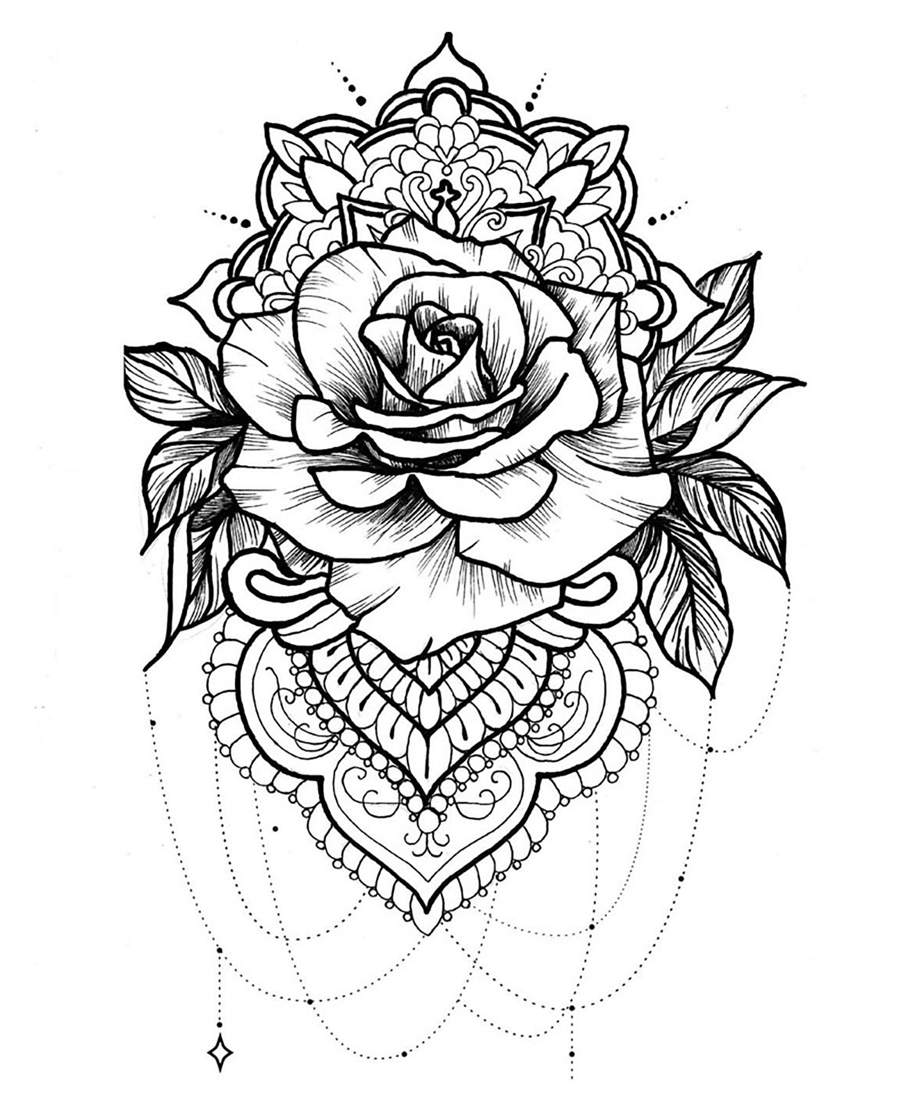 Mandala and rose with beautiful petals