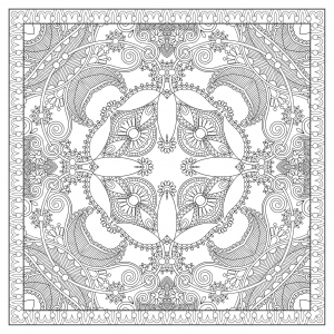Coloring adult square mandala by karakotsya 2