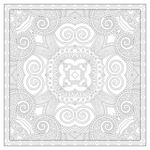 Coloring adult square mandala by karakotsya 3