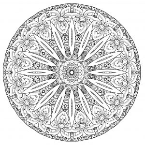 Complex Mandala with flowers