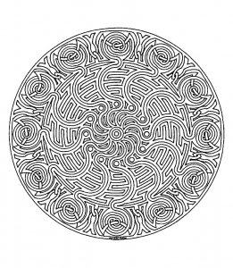 Coloring free mandala difficult for adult to print : 1