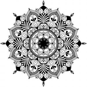 Mandala / zentagle inspired illustration, black and white