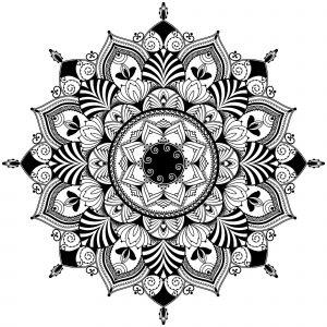 Mandala / zentagle inspired illustration, black and white