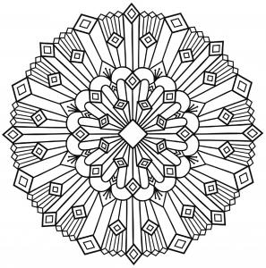 coloring mandala art deco simple