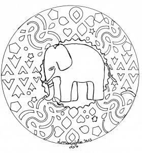 Coloring mandala domandalas elephant