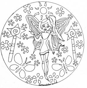 Coloring mandala domandalas fairy