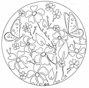 Coloring mandala domandalas flowers butterflies