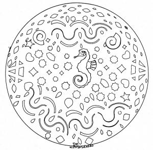 Coloring mandala domandalas sea horse