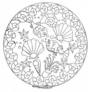 Coloring mandala domandalas seabed 2