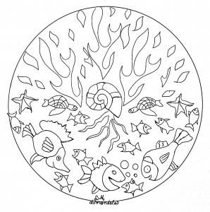Coloring mandala domandalas seabed