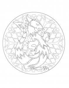 Coloring mandala dragon 1