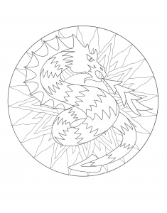 Coloring mandala dragon 3