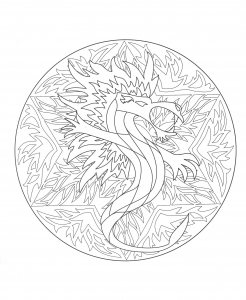 Coloring mandala dragon 5