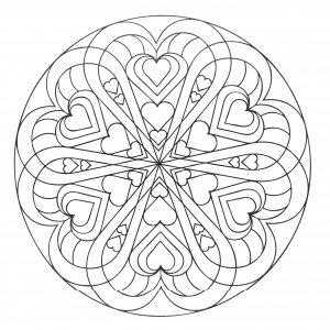 Coloring mandala hearts