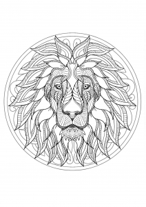 Mandala with original Lion head and geometric patterns