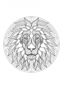 Mandala with beautiful Lion head and geometric patterns