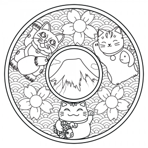 Mandala with three Maneki Neko