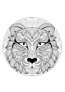 Mandala with beautiful Wolf head and geometric patterns
