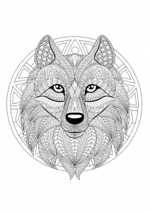 Mandala with geometric patterns and Wolf head full of complex details
