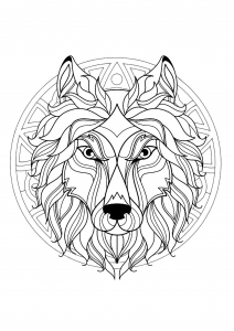 Mandala with beautiful Wolf head and superb geometric patterns