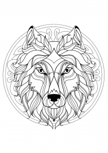 Mandala with beautiful Wolf head and interlaced patterns