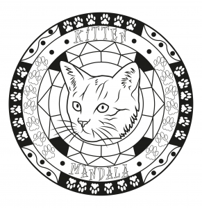 coloring page adult mandala cat by allan