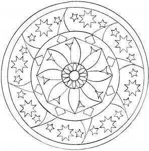 Coloring page adult star mandala
