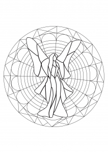 Coloring page adults fairy mandala