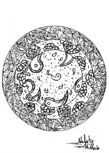 Coloring page adults mandala valentin 1
