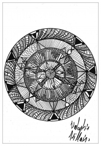 Coloring page adults mandala valentin2