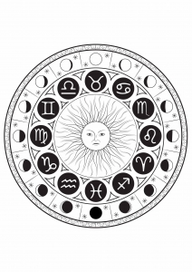 Coloring page astrological signs mandala by louise