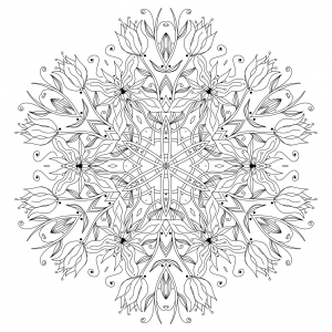 Coloring page mandala Smooth Flowers and vegetal patterns to color by Epic22