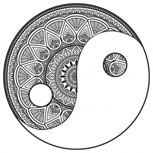 Coloring page mandala Yin and Yang to color by Snezh