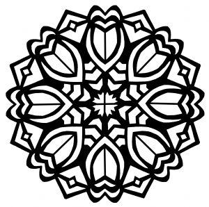 Coloring page mandala art deco flowers