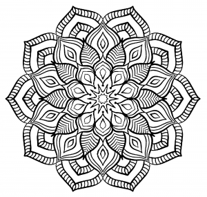 coloring page mandala big flower free to print