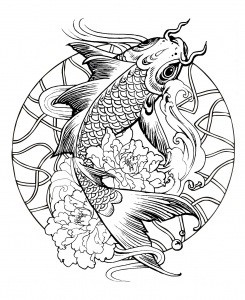 Coloring page mandala fish carp