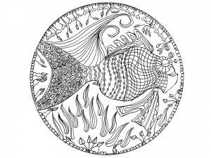 coloring page mandala fish