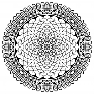 Coloring page mandala little petals