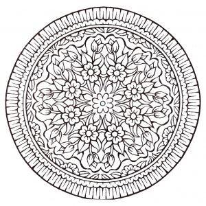 coloring-page-mandala-vintage-style-flowers