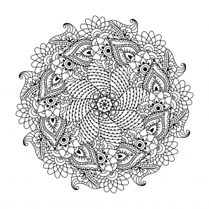 Coloring page mandala with flowers and leaves by Ceramaama