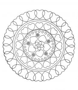 Free mandala to color : hearts love