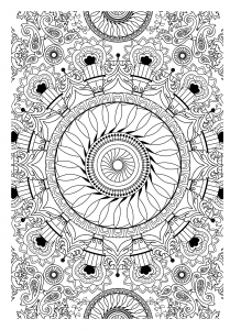 Free mandala to color : vegetation
