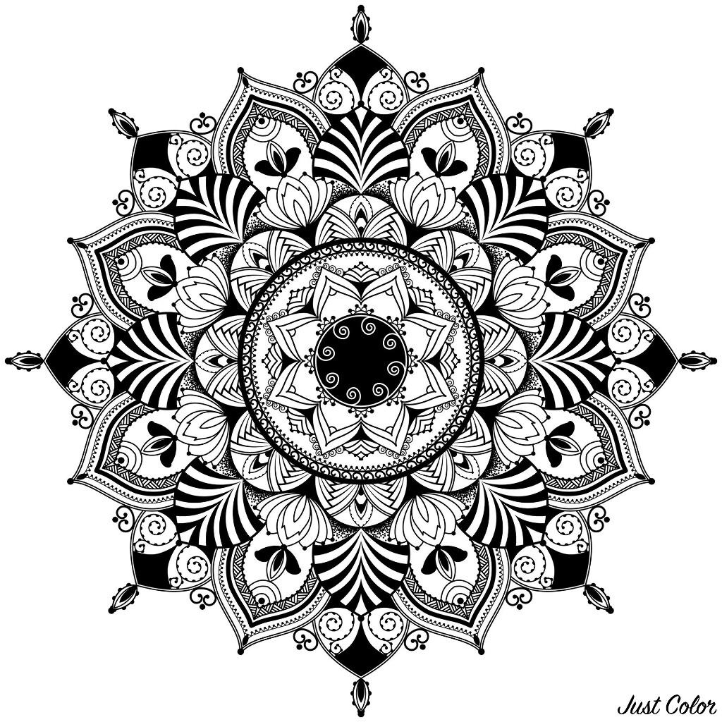 mandala, zentagle inspired illustration, black and white antistress colouring page Mandala